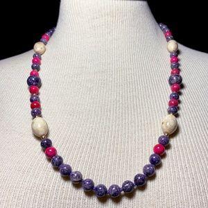 Vintage Purple Pink Jasper Stone Bead Necklace